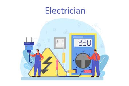 Electricity works service concept. Professional worker in the uniform Ilustração