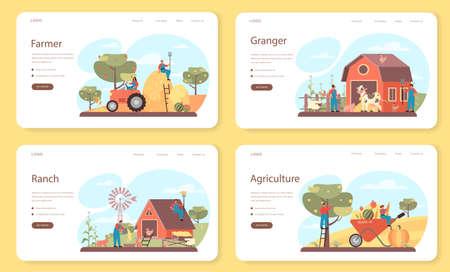 Farmer web banner or landing page set. Farm worker on the field,