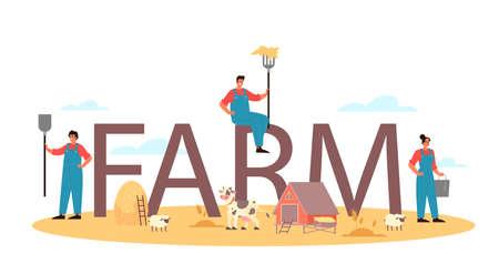 Farm typographic header. Farm worker on the field, watering plants 矢量图像