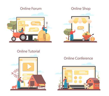 Farmer online service or platform set. Farm worker on the field.