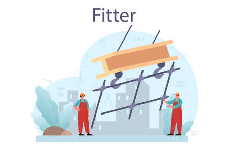 Fitter or installer. Industrial builder at the construction site.