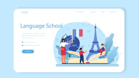 French learning web banner or landing page. Language school french