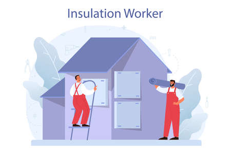 Insulation concept. Thermal or acoustic insulation. Construction industry Vecteurs