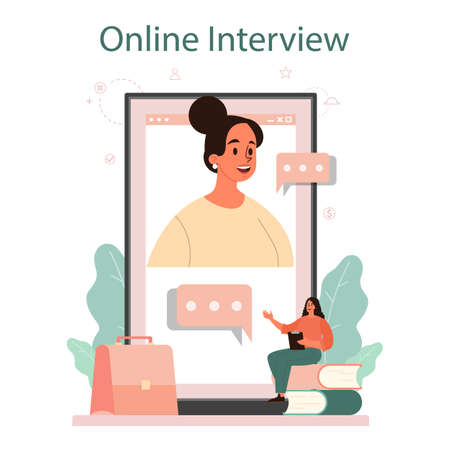 Job interview online service or platform. Idea of employment