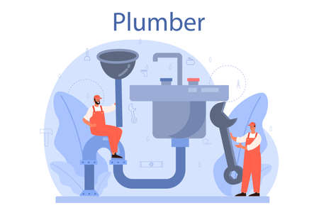 Plumber. Plumbing service, professional repair and cleaning Vector Illustration