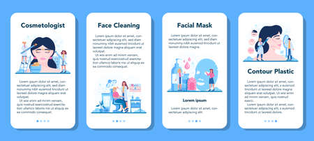 Cosmetologist concept mobile application banner set, skin care Stock Illustratie