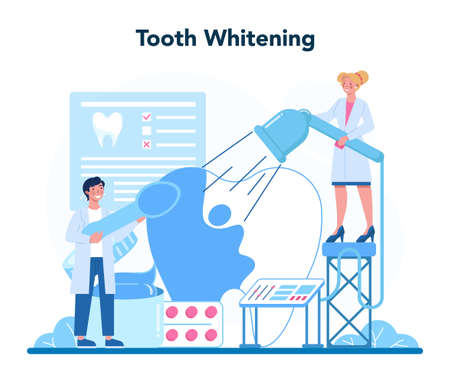Dentist profession. Dentists in uniform treat tooth using