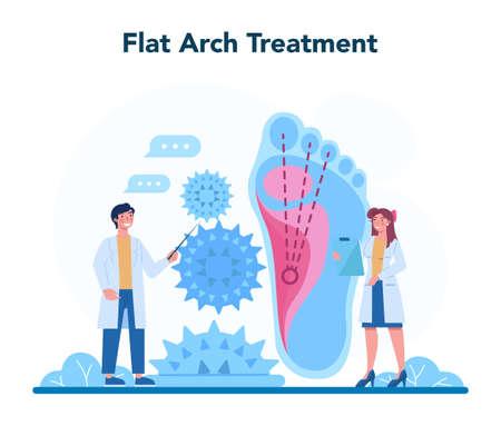 Orthopedics doctor. Idea of joint and bone treatment. Flat feet problem