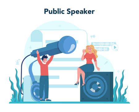 Rhetoric or elocution specialist. Professional speaker or commentator