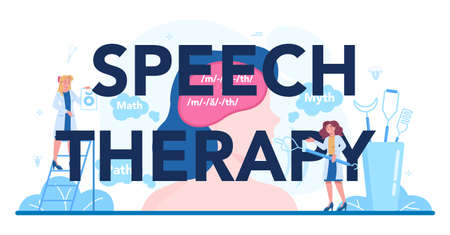 Speech therapy typographic header. Didactic correction and treatment