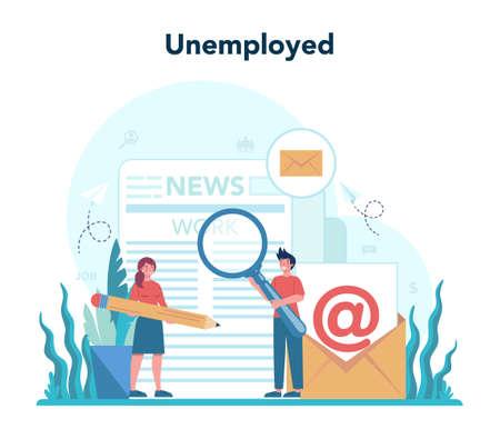 Unemployed concept. Searching for work or job. Idea Illusztráció