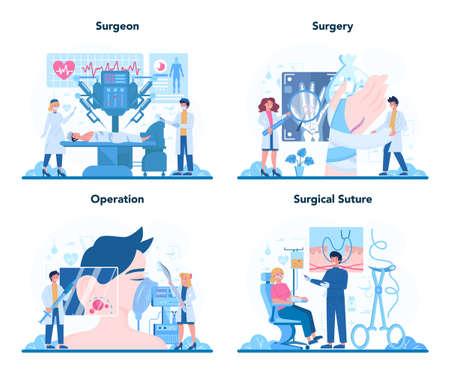 Surgeon online service or platform set. Doctor performing medical