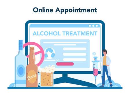 Narcologist online service or platform. Professional medical Illusztráció