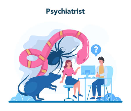 Psychiatrist concept. Mental health diagnostic. Doctor treating