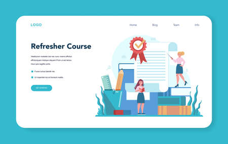 Refresher course web banner or landing page. Searching for work