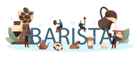 Barista typographic header. Bartender making a cup of hot coffe. Energetic