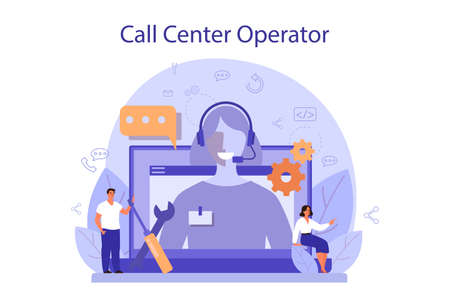 Call center or technical support concept. Idea of customer service 矢量图像