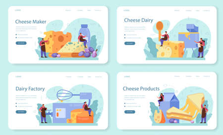 Cheese maker concept web banner or landing page set. Иллюстрация