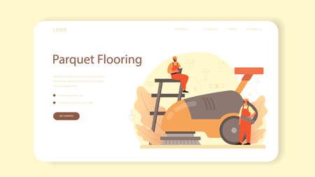 Flooring installer web banner or landing page. Professional