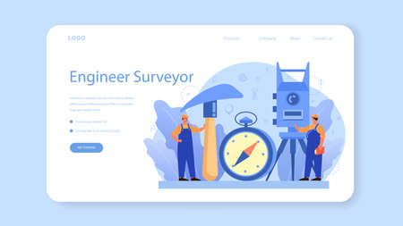 Geodesy science web banner or landing page. Land surveying