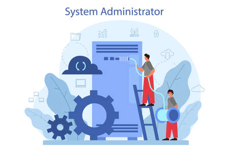 System administrator. People working on computer and doing