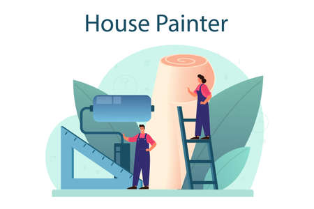Wall papering. Worker gluing wallpapers on the wall. Vector Illustration