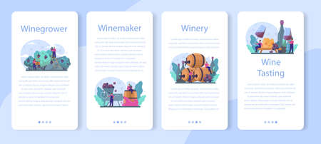 Wine maker mobile application banner set. Grape wine in a wood 向量圖像