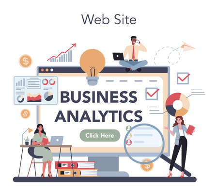 Financial analyst online service or platform. Business character
