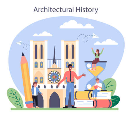History of art school education. Student studying art history. Vettoriali