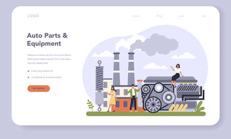 Spare parts production industry web banner or landing page.