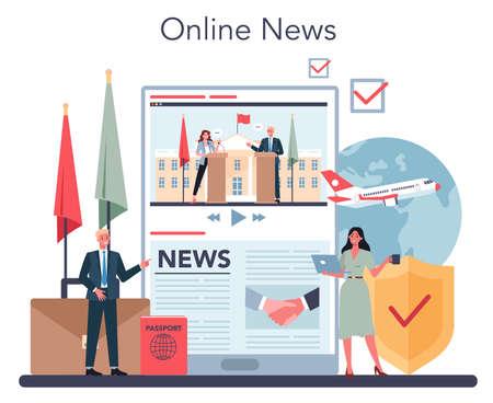 Diplomat online service or platform. Idea of international relations