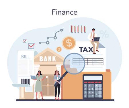 Financial advisor or financier concept. Business character 向量圖像