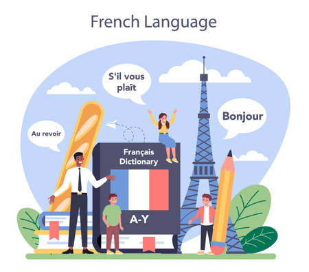 French learning concept. Language school french course. Study
