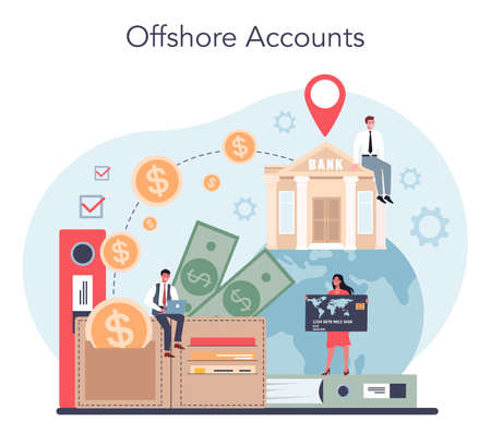 Offshore account concept. Professional businessman help with financial
