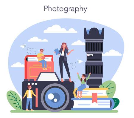 Photography school course. Professional photographer teaching kid 向量圖像