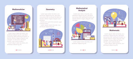 Mathematician mobile application banner set. Mathematician seek