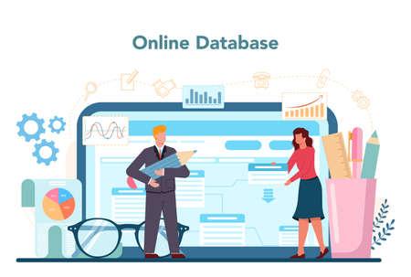Professional consultant online service or platform. Research Ilustración de vector