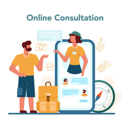 Tour vacation guide online service or platform. Tourists listening 向量圖像