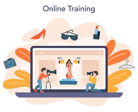 Fashion model online service or platform. Man and woman 向量圖像