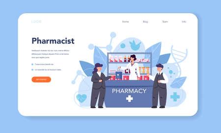 Pharmacy web banner or landing page. Pharmacist holding Illusztráció