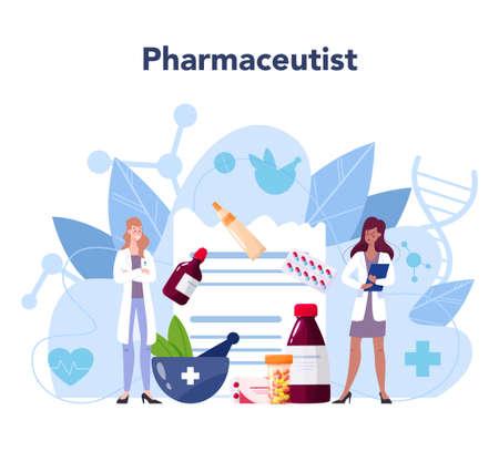 Pharmacy concept. Pharmacist holding a bag with pharmacy Vektorgrafik