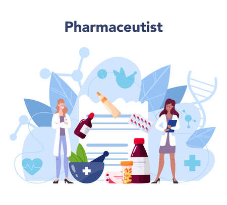 Pharmacy concept. Pharmacist holding a bag with pharmacy