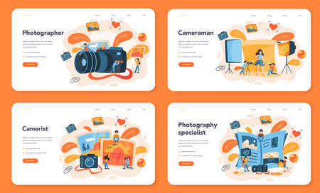 Photographer web banner or landing page set. Professional photographer