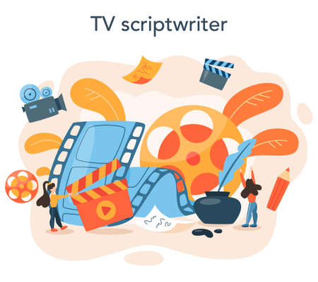 Screenwriter concept. Person create a screenplay for movie.