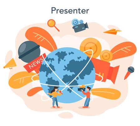 TV presenter concept. Television host in studio. Broadcaster