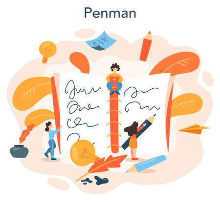 Professional writer or journalist concept illustration. Idea of creative Ilustração Vetorial