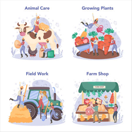 Farmer concept set. Farm worker on the field, watering plants and feeding