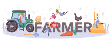 Farmer typographic header. Farm worker on the field, growing
