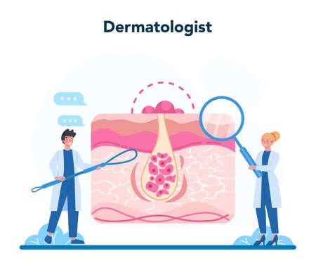 Dermatologist concept. Dermatology specialist, face skin or acne 矢量图像