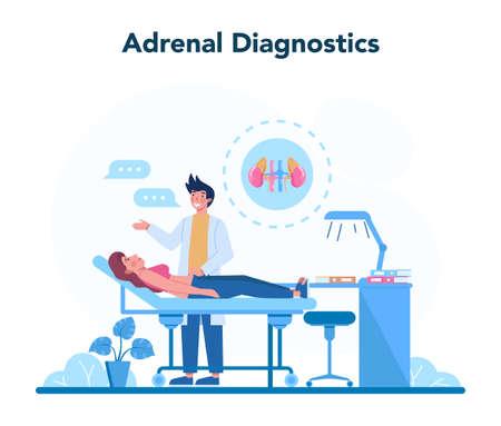 Endocrinologist concept. Adrenal glands examination. Doctor examine Stock Illustratie